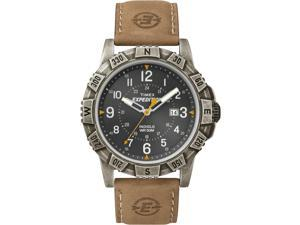Timex Men's Expedition | Black Dial Leather Strap Indiglo | Rugged Watch T49991