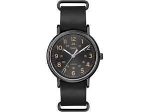 Timex Weekender   Black Case Indiglo Black Slip-Thru Leather Strap Watch T2P494