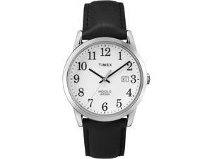 Timex Men's Easy Reader | Black Leather Strap White Dial Casual Watch TW2P75600