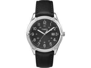 Timex Men's Easton Avenue | Black Leather Strap 24-Hour Time | Dress TW2P76700