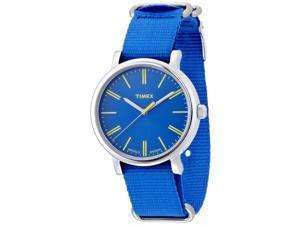 TIMEX Men's Originals Classic Oversized Quartz Blue Band and Dial Yellow Accents