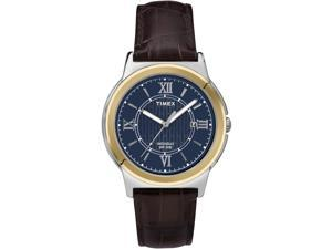 Timex Men's | Brown Leather Strap Two-Tone Case Indiglo | Dress Watch T2P521