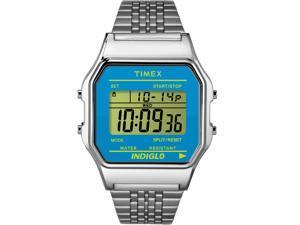 Timex Unisex Digital Watch | Retro Blue Bezel Silver-Tone Band | TW2P62000