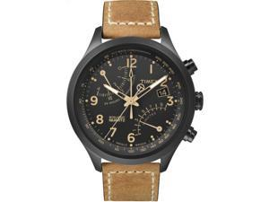Timex Men's Intelligent Quartz Fly-Back Chronograph Tan Strap Black Case T2N700