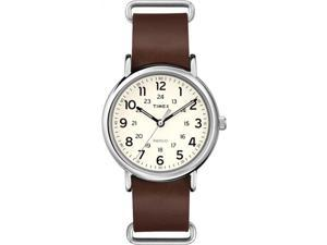 Timex Weekender | Cream Dial Brown Leather Strap Silver-Tone Case | Watch T2P495
