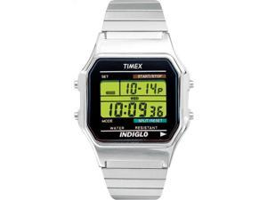 Timex Mens Classic Silver-Tone Case Bracelet New 80's Retro Digital Watch T78582