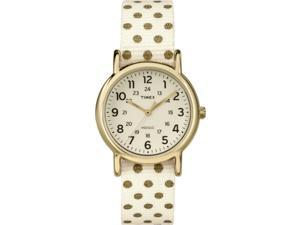 Timex Women's Weekender Polka Dots | Champagne Strap Gold-Tone Case | TW2P65400