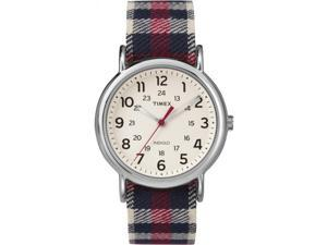 Timex TW2P89600 Weekender Plaid Blue Plaid Fabric Strap Cream Dial Casual Watch
