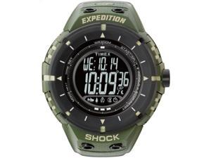 Timex Men's Expedition Shock | Green Case & Strap Day/Date | Rugged Watch T49612