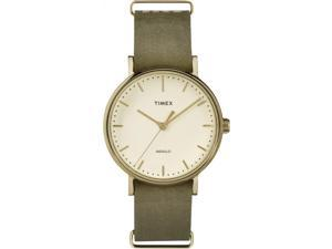 Timex Weekender Fairfield 37mm | Green Leather Strap Minimal Dial | TW2P98300