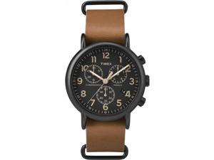 Timex Weekender Chronograph Oversized | Leather Strap Black Dial | TW2P97500
