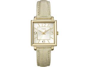 Timex T2P379 Women's Classics Textured Gold Tone Strap & Square Case Dress Watch