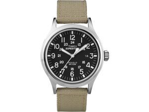 Timex Men's Expedition | Black Dial & Beige Nylon Strap | Scout Watch T49962