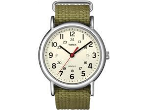 Timex Weekender Green Slip-Through Strap & Silver-Tone Case Casual Watch T2N651