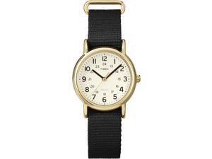 Timex Weekender | Black Slip-Thru Strap Gold-Tone Case Indiglo Watch T2P476