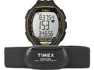 Timex Ironman Triathlon Mens Black Sport Running Heart Rate HRM Trainer T5K726