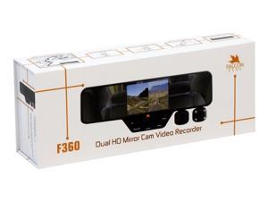 FalconZero F360 HD DVR Dual Dash Cam, Rear View Mirror, 1080p, 32GB SD Card Included,