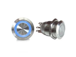 19mm Momentary Billet Buttons with LED Blue Ring wholesale parts dirt 351 sbc ltr apu tpi 2 din sprint car 350 big dog racing road king circle track parts classic 18 degree hemi model a wrecker cal