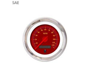 Aurora Instruments GAR242ZEXHABCE Speedometer Gauge - SAE Omega Red , Red Modern Needles, Chrome Trim Rings