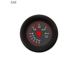 Aurora Instruments GAR240ZEXMACCE Turbo Gauge - SAE Omega Black , Red Modern Needles, Black Trim Rings ~ Style