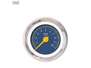 Aurora Instruments GAR244ZEXIABCI Tachometer Gauge - Omega Blue , Yellow Modern Needles, Chrome Trim Rings