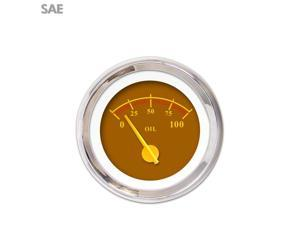 Aurora Instruments GAR243ZEXJABCI Oil Pressure Gauge - SAE Omega Brown , Yellow Modern Needles, Chrome Trim