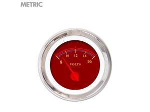 Aurora Instruments GAR242ZMXNABCE Volt Gauge - Metric Omega Red , Red Modern Needles, Chrome Trim Rings ~ Style