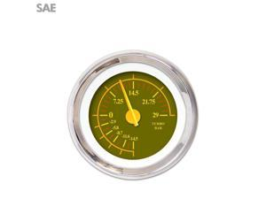 Aurora Instruments GAR241ZEXMABCI Turbo Gauge - SAE Omega Olive , Yellow Modern Needles, Chrome Trim Rings