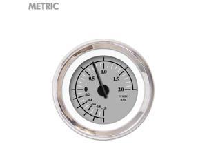 Aurora Instruments GAR239ZMXMABCC Turbo Gauge - Metric Omega Gray , Black Modern Needles, Chrome Trim Rings