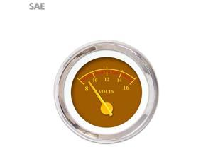 Aurora Instruments GAR243ZEXNABCI Volt Gauge - SAE Omega Brown , Yellow Modern Needles, Chrome Trim Rings