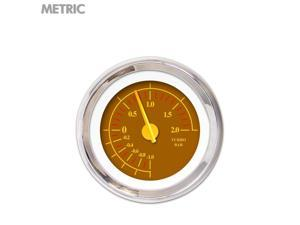 Aurora Instruments GAR243ZMXMABCI Turbo Gauge - Metric Omega Brown , Yellow Modern Needles, Chrome Trim Rings
