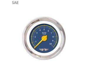 Aurora Instruments GAR244ZEAIABCI Tachometer Gauge with emblem - Omega Blue , Yellow Modern Needles, Chrome Trim