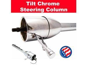 StreetRod Steering Supply Company 1120300051 45D1E 32'' Chrome Steering Column Tilt No Key Floor Shift fits Gasser jeep cj chevy