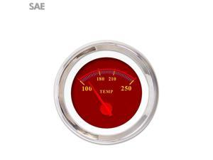 Aurora Instruments GAR242ZEXLABCE Water Temp Gauge - SAE Omega Red , Red Modern Needles, Chrome Trim Rings