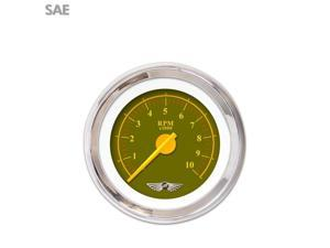 Aurora Instruments GAR241ZEAIABCI Tachometer Gauge with emblem - Omega Olive , Yellow Modern Needles, Chrome