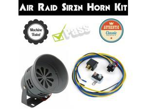 1974 Oldsmobile Omega Air Raid Siren Horn Kit w/ Relay, Harness & Breaker db sound 50s blast amp scream fire classic vtg tone mount refit real new grille motor police for alarm driven lound switch