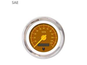 Speedometer Gauge - SAE Omega Brown , Yellow Modern Needles, Chrome Trim bert drag race formula jr dragster accessories sbc 671 circle track vintage 350 dune buggy hotrod sportsman rzr early wrecker