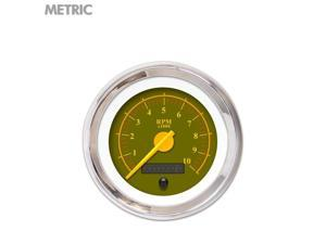 Speedometer Gauge - Metric Omega Olive , Yellow Modern Needles, Chrome Trim accessories accessory sbc 671 ktm go kart jr dragster wholesale bbc mac custom racing parts big block gasser xtreme 18