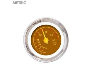 Turbo Gauge - Metric Omega Brown , Yellow Modern Needles, Chrome Trim Rings ltr imca tpi backup mgb late model formula socal street rod accessory car accessories dune buggy 1932 racing icon 356 amp