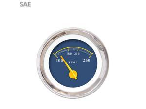Water Temp Gauge - SAE Omega Blue , Yellow Modern Needles, Chrome Trim icon hot rod apu road king amp project car accessories model t 356 351 rat rod 409 sbc big block small block imca 671 mini bike