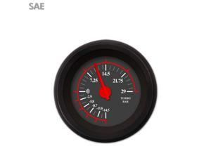 Turbo Gauge - SAE Omega Black , Red Modern Needles, Black Trim Rings  Style mgb 671 scta dune buggy spyder 356 510 bert 409 xtreme hot rod automotive bbs rat rod vintage racing streetrod 18 degree
