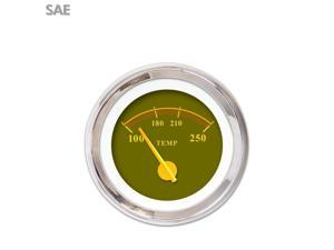 Water Temp Gauge - SAE Omega Olive , Yellow Modern Needles, Chrome Trim 9 inch teardrop trailer bbc 356 quick change 409 xtreme parts icon mg tc mgb 9 inch 428 uconnect mac 7.3 ratrod automotive apu