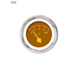 Oil Pressure Gauge - SAE Omega Brown , Yellow Modern Needles, Chrome Trim mini bike small block amp race ktm 956 apu car accessories bbs mg tc backup hot rod icon streetrod scta 18 degree big block
