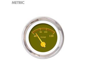 Water Temp Gauge - Metric Omega Olive , Yellow Modern Needles, Chrome Trim mg tc gasser hotrod ratrod 510 426 956 auto flathead accessories big block 9 inch automotive sbc bbc sportsman matchless bbs