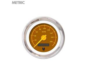 Speedometer Gauge - Metric Omega Brown , Yellow Modern Needles, Chrome Trim 510 auto 671 quick change backup 911 ratrod bbs accessory socal jdm procharger cal customs auto rhr nascar rv modified go