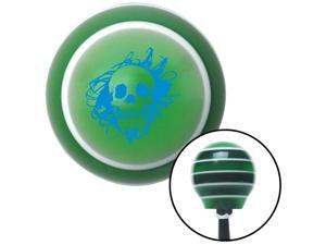 Blue Skull in a Mess Green Stripe Shift Knob with M16 x 1.5 Insert model a parts strip custom lever automatic rod metric knob pull stick oe manual hot rack resin grip billard shift handle shift