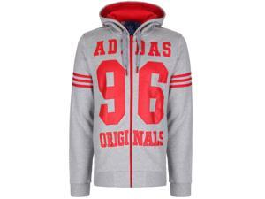 Mens Adidas Originals Sweatshirt Hoodie Retro Jumper Sweater Grey Red S M L XL