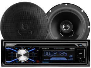 """BOSS Audio 656BCK 508UAB CD/MP3 AM/FM Receiver With USB and SD Memory Card Ports Plus one Pair of 6.5"""" Speakers"""