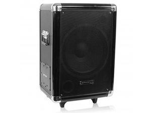 """Technical Pro Portable Rechargeable Active PA Subwoofer with 12"""" Speaker and Pull-Up Handle and Wheels"""