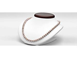 Pink to Peach Freshwater Cultured Pearl Necklace,  6.5-7.0mm (18 inches, Sterling Silver Clasp)